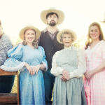 The cast, pictured from left to right: Tony Nappo as Jud Fry, Tonya Pewitt as Ado Anie, Ben Gregory as Will Parker, Kim Yearwood as Aunt Eller, Katherine Graddy as Laurey Williams and Daniel Keeley as Curly McLain.