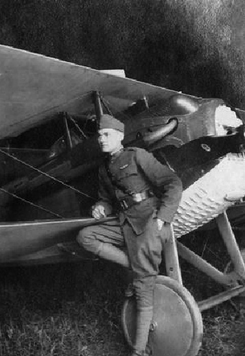 Lt. George W. Puryear next to a SPAD S.XIII fighter plane, France, 1918.