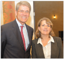 Bill Carpenter, CEO, Lifepoint Hospitals, (left) with Beth Seigenthaler Courtney, CEO, Local Shares, visited before the Local Shares ETF's Annual Meeting at Hutton Hotel.  ---photo by Dru Smith
