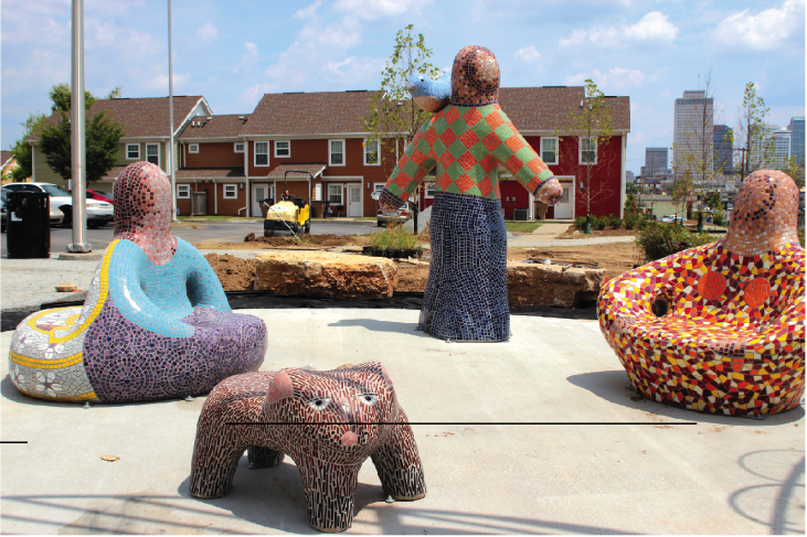 """The Gathering"" by Bell Buckle artist Sherri Warner Hunter is now a permanent installation in Edmondson Park."
