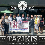Leah Jack, Laura Tucker, Wayne Tucker, Keith Richards, Molly James, Terry McClerkin, Jim Keet, Shank Kothare, Kathy Rodes, Tawantane Yates and other local Hermitage residents attended the ribbon cutting ceremony to celebrate the grand opening of Taziki's Mediterranean Café.
