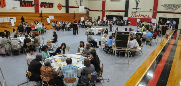 Attendees had 14 minutes to share thoughts and ideas with the room of over 100 participants and onlookers.