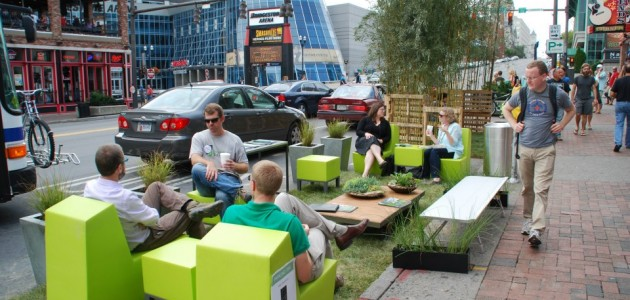 Visitors enjoy seating and green space in downtown areas for PARK(ing) Day.                                                                                -photos courtesy of the Nashville Civic Design Center