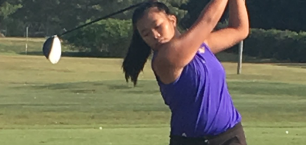Christina Vetvong practices with the Lipscomb Academy Golf Team - photo provided by Lipscomb Academy