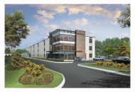 Rendering of the multi-story self storage facility - rendering provided by Warden Capital