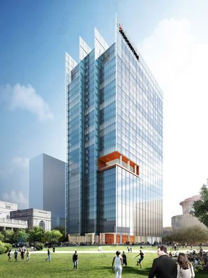 A view of the Bridgestone tower - by Highwoods Properties