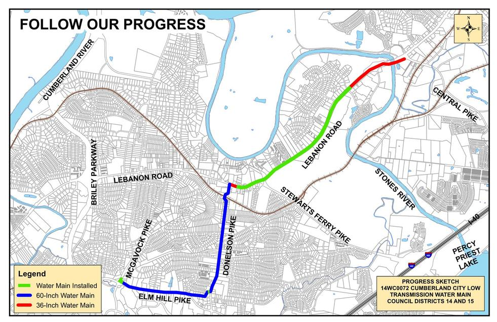 The project will run from McGavock Pike to Elm Hill Pike, from Old Elm Hill Pike to Old Donelson Pike, from Old Donelson Pike to Nodyne Drive, from Nodyne Drive to Donelson Pike, and from Donelson Pike to near Lebanon Road. The project continues along Lebanon Road from Donelson Pike to Central Pike.