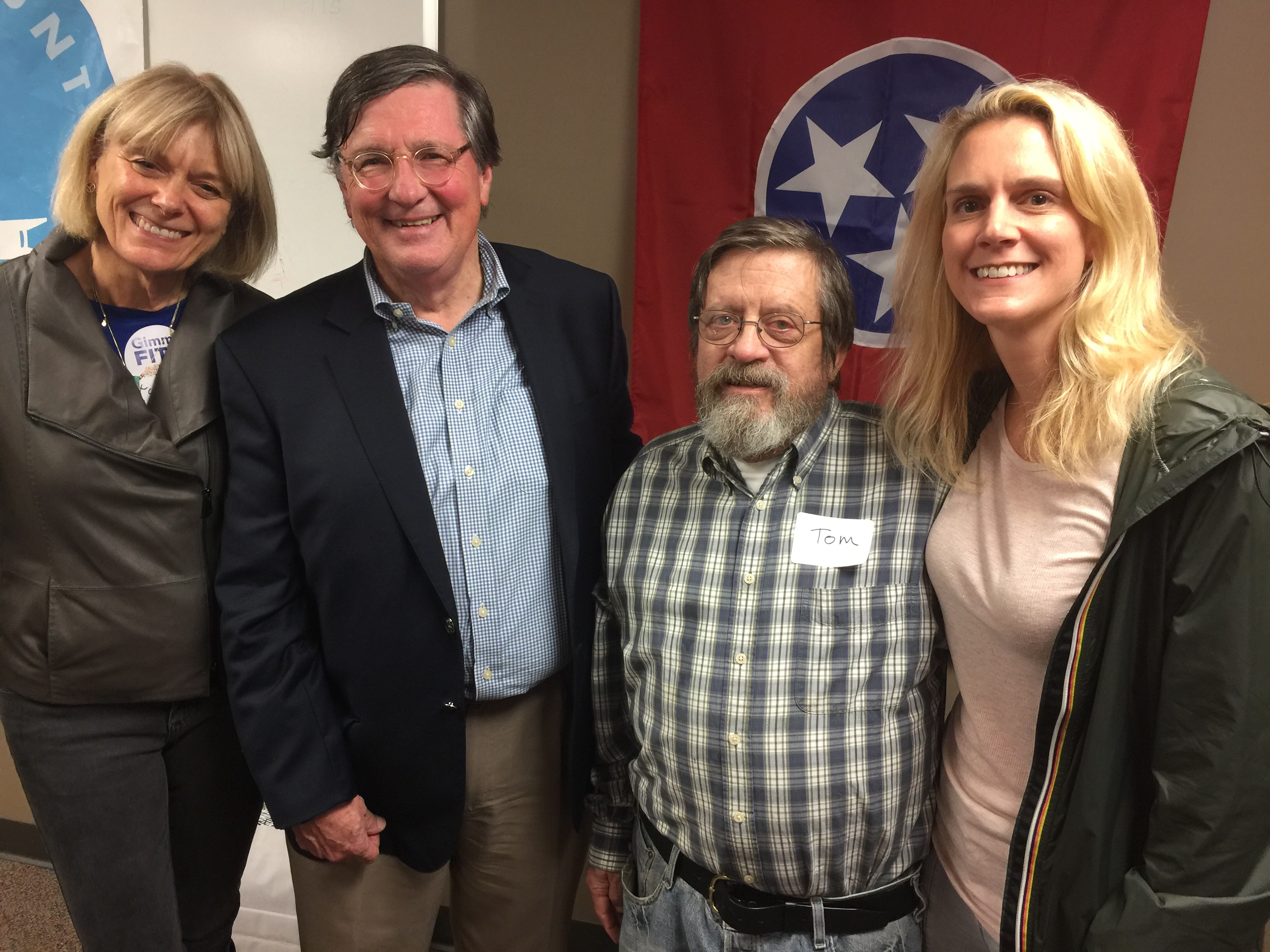 (L-R) Pam Kidd welcomed governor hopeful Craig Fitzhue to Nashville's L Club as Tom Sterritt and Keri Cannon look on. - photos by Dru Smith