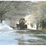 Snowcovered roads with snowplow